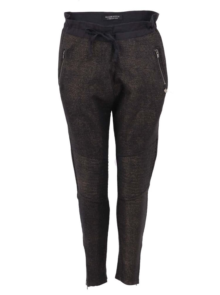 Pantaloni Maison Scotch tip ciclism, gri, cu fir auriu