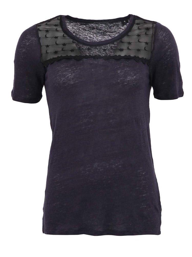 Fialovomodré priesvitné ľanové tričko Maison Scotch Star & Moon
