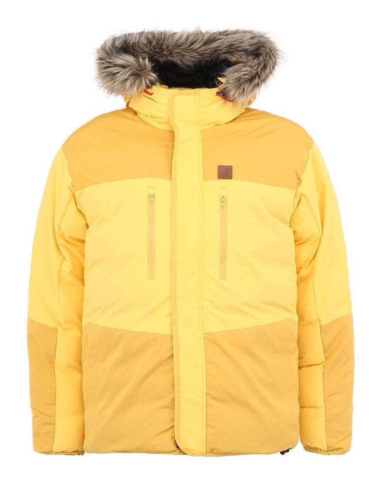 Žlutá zimní bunda s kožichem Fat Moose Mountain