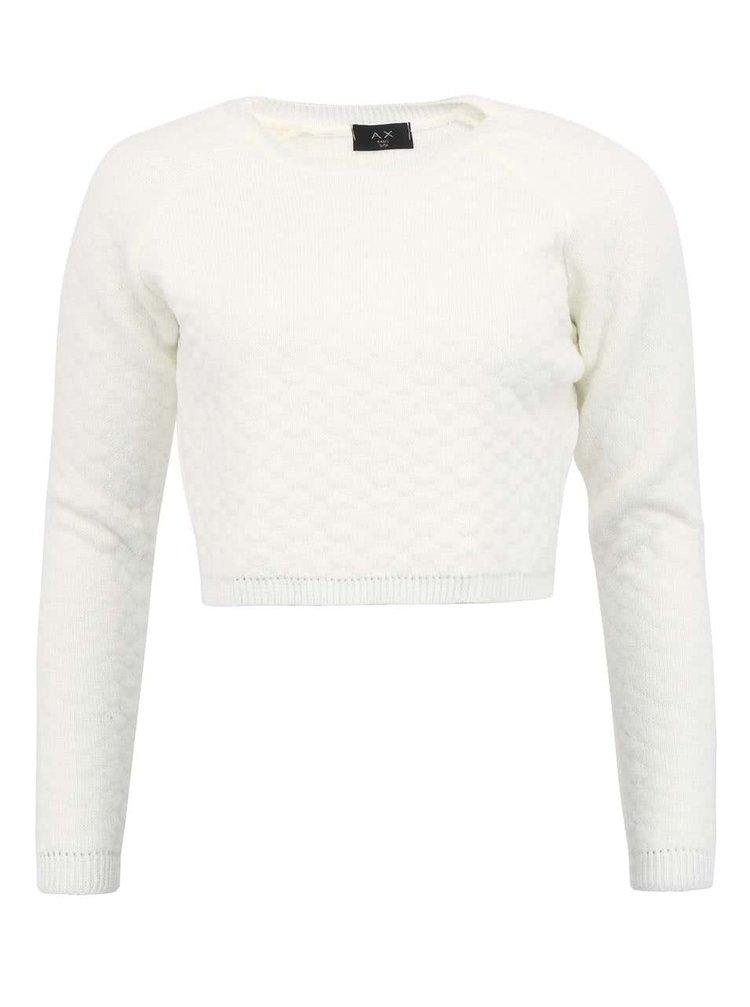 Bluză scurtă, albă, din tricot, texturată, AX Paris