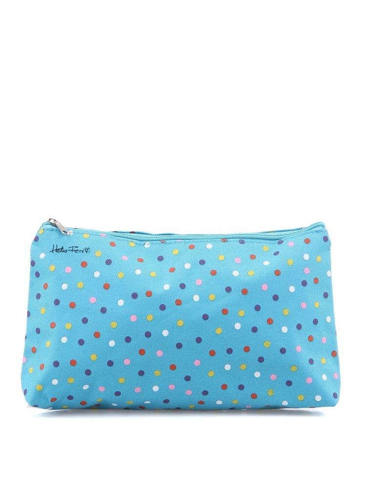 Geantă Helio Ferretti albastră cu buline pentru cosmetice