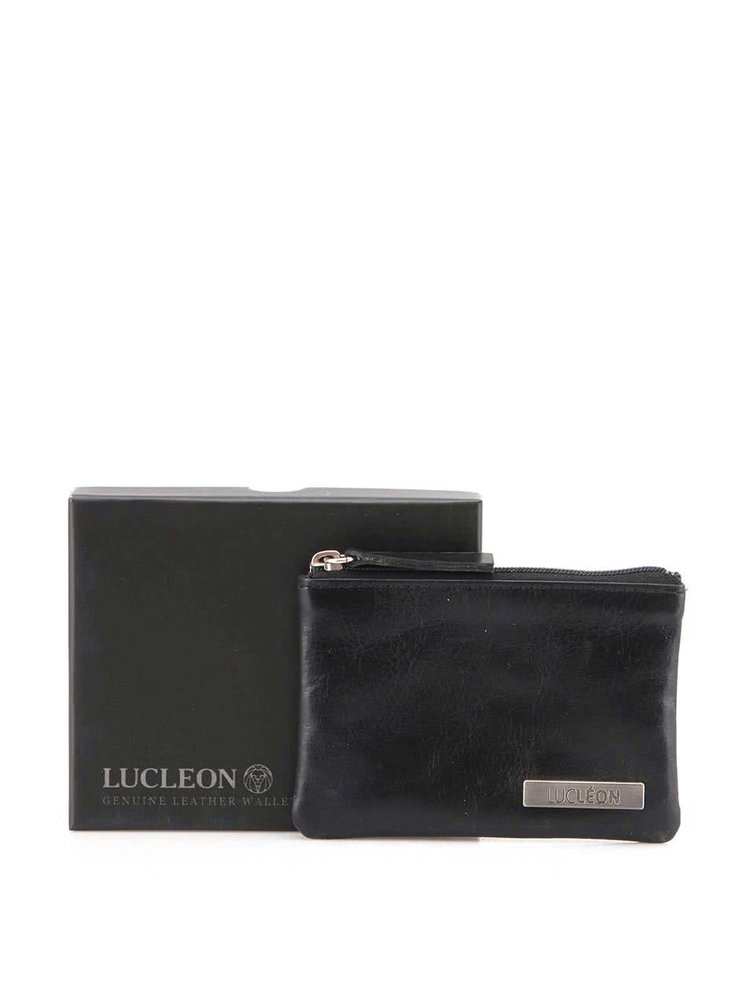 Čierna pánska kožená peňaženka na mince Lucleon Pouch