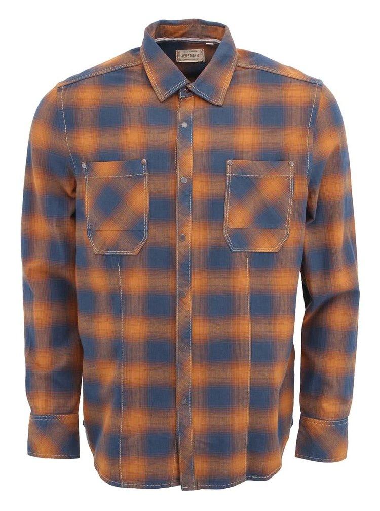Modro-hnedá pánska kockovaná košeľa Jeremiah Eugene