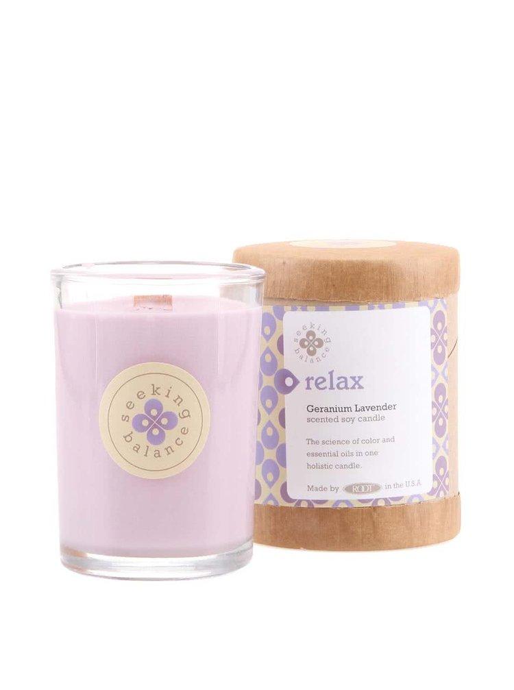 Světle fialová vonná svíčka Root Candles Geranium Lavender - Relax