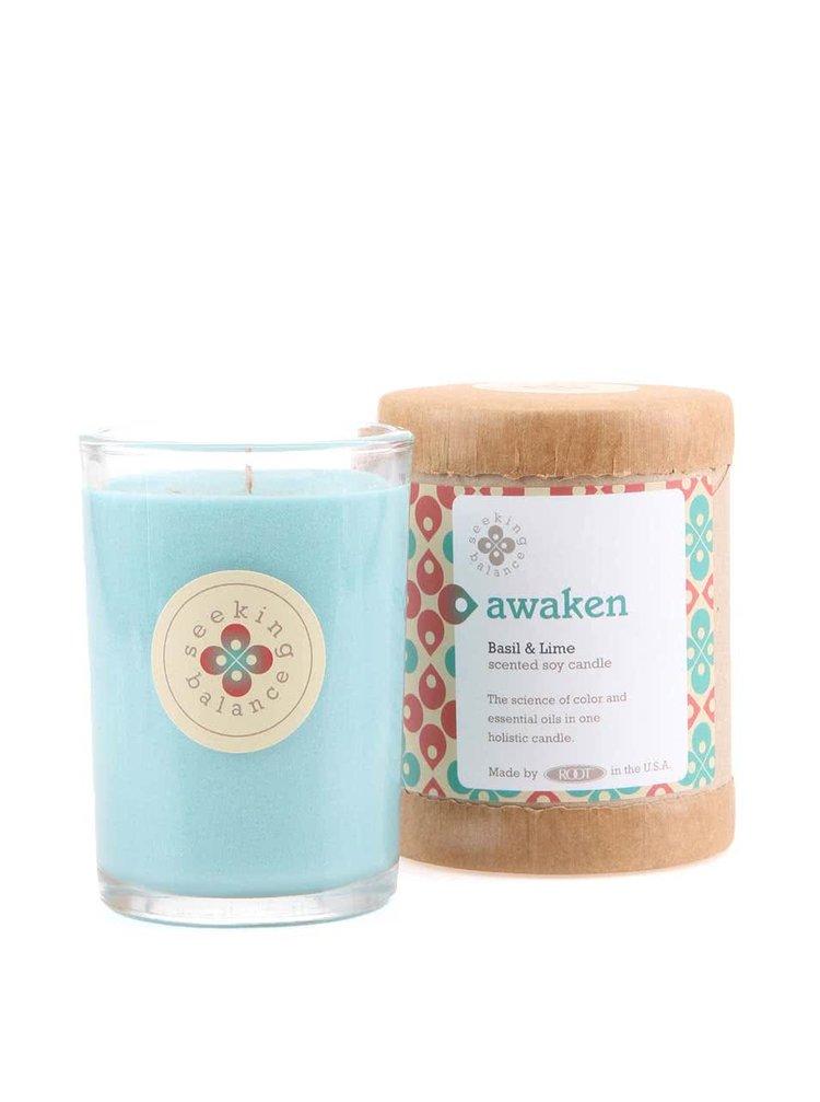 Světle modrá vonná svíčka Root Candles Basil & Lime Awaken