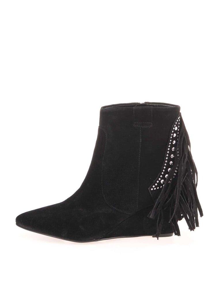 Černé kožené semišové boty s třásněmi Pieces Psumala
