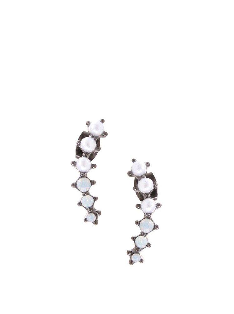 Tmavě šedé náušnice s perličkami Pieces Ciaja