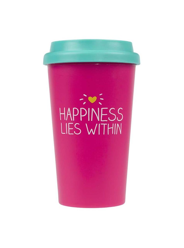 Cană de călătorie Happy Jackson Happiness Lies Within - roz