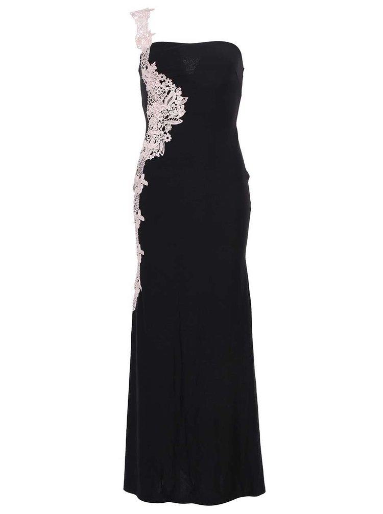 ... Čierne dlhé šaty zdobené bielou čipkou AX Paris 3f5f10dc2a3