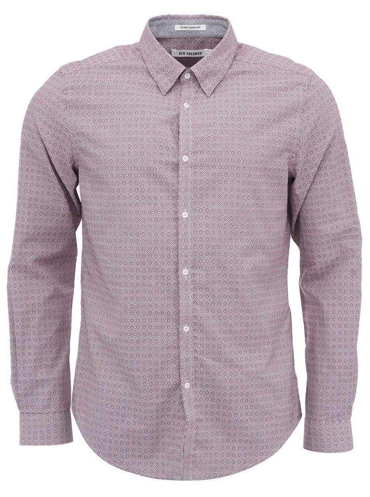 Sivo-červená vzorovaná košeľa Ben Sherman