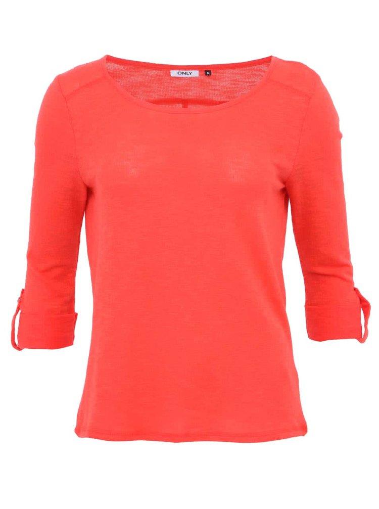 Červené triko s 3/4 rukávem ONLY Jess