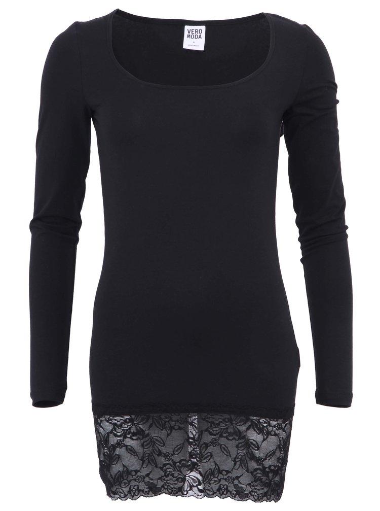 Černé dlouhé tričko s krajkovým lemem VERO MODA Maxi My