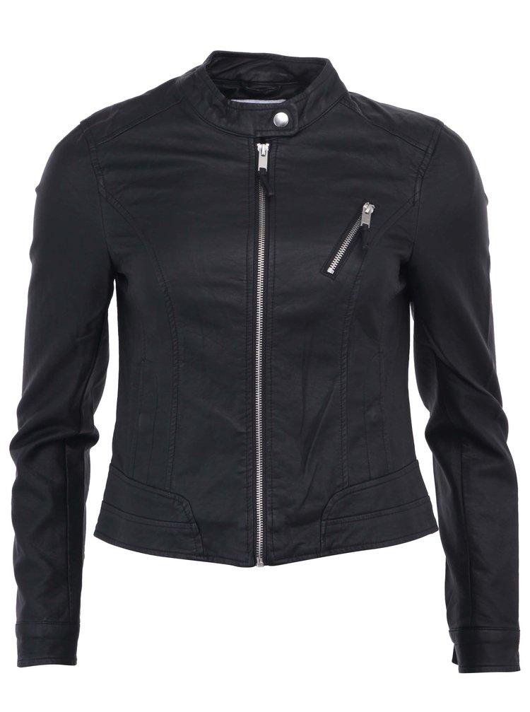 Čierna koženková bunda VERO MODA Irina