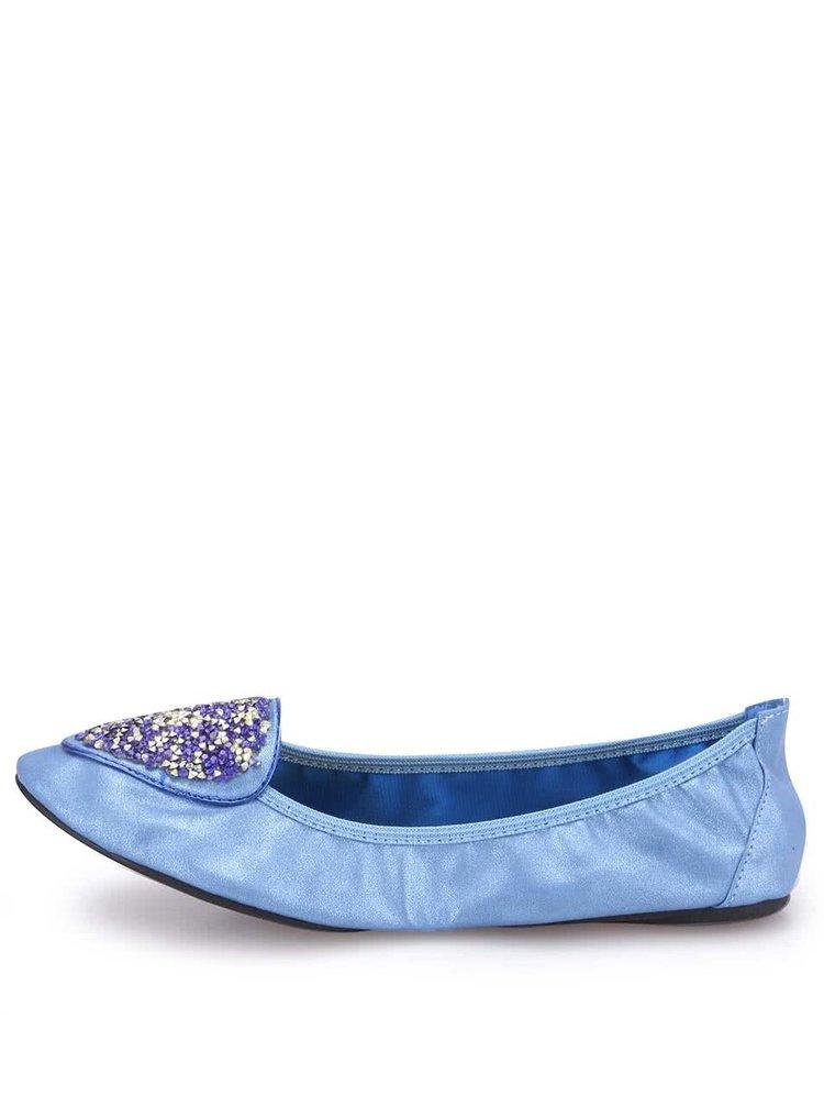 Balerini cu ștrasuri, albaștri, model Islington de la Cocorose London
