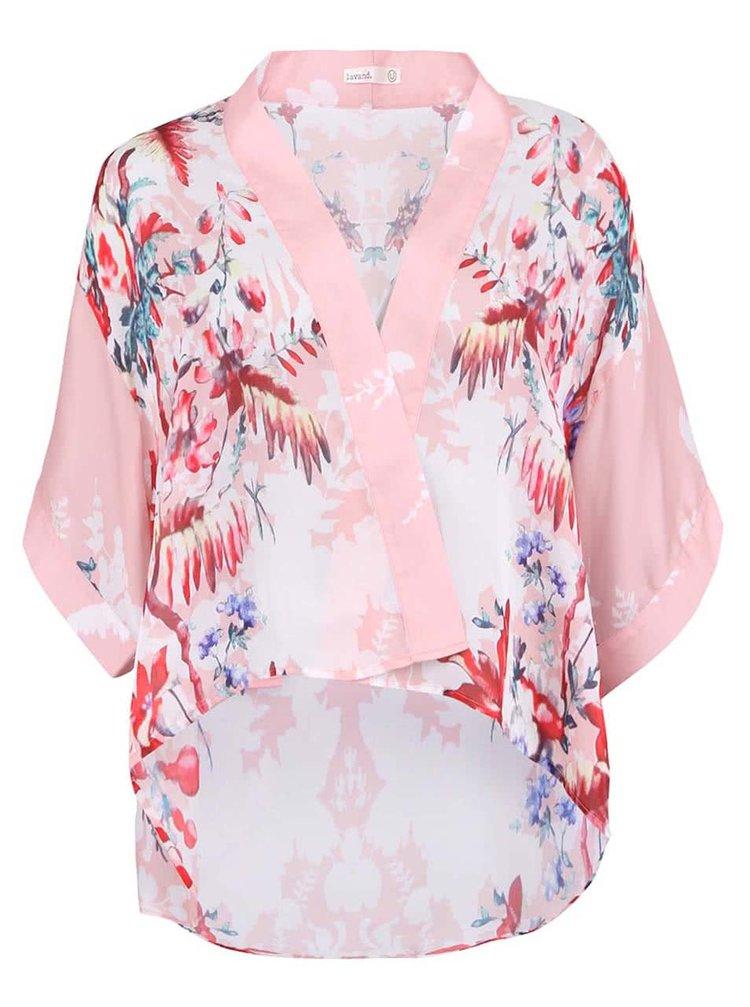 Růžové dámské kimono s květovaným potiskem Lavand