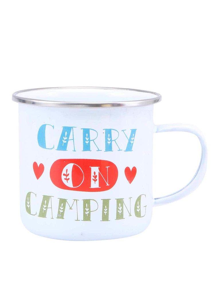 """Cană emailată albă """"Carry On Camping"""" de la Sass & Belle"""