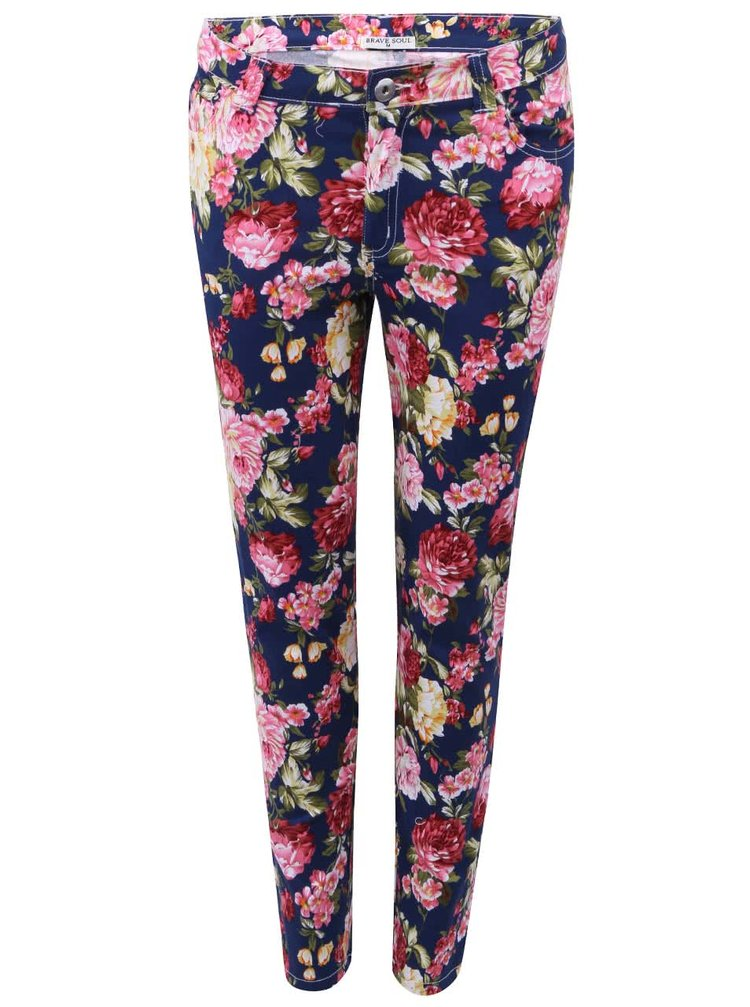 Tmavě modré kalhoty s květinovým potiskem Brave Soul Candice