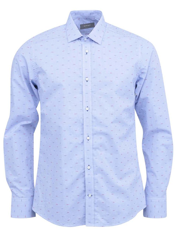 Svetlomodrá kockovaná košeľa so vzorom Bertoni Slim Fit