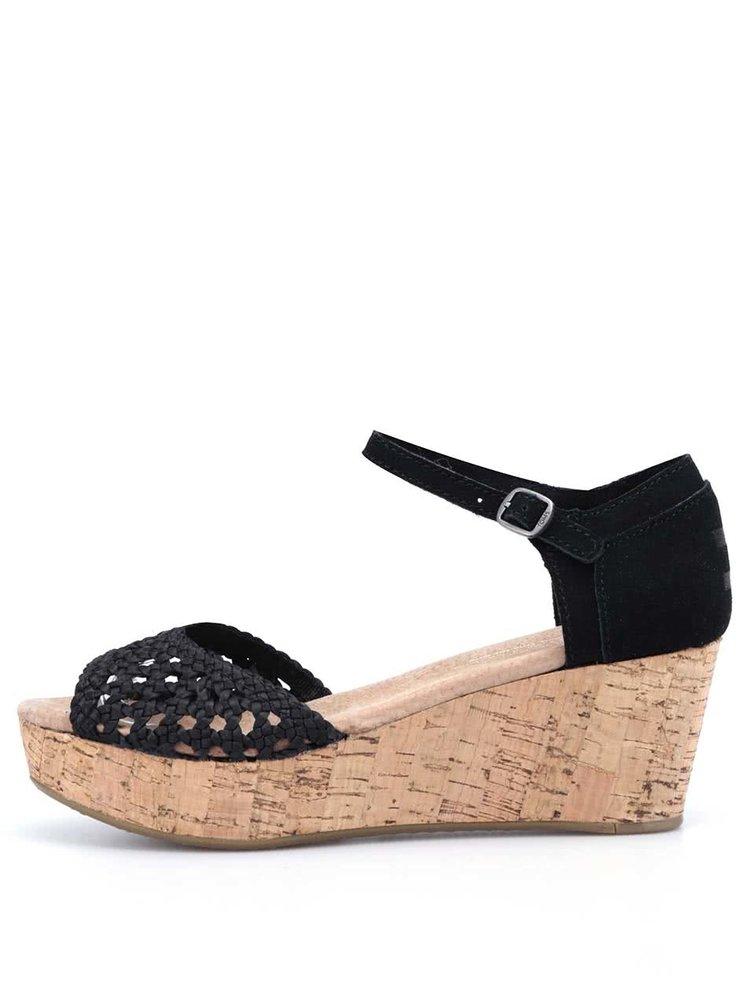 Černé kožené sandálky na klínku Toms Satin