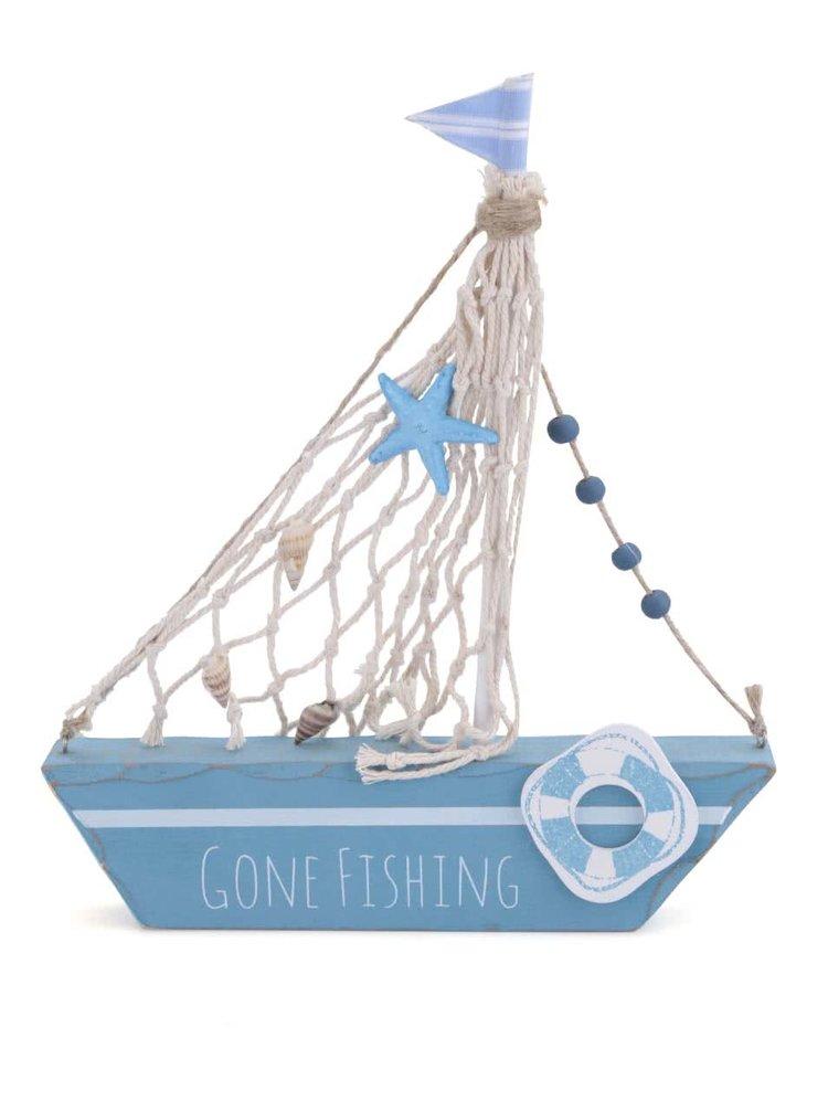 Modrá dřevěná plachetnice Sass & Belle Gone Fishing