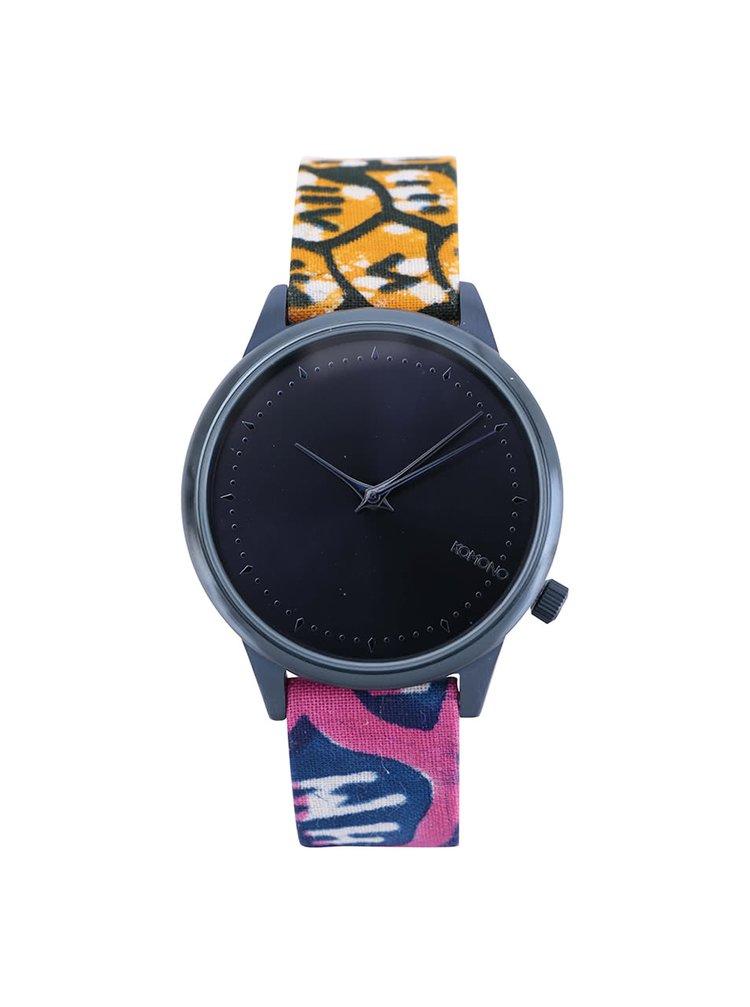 Tmavě modré dámské hodinky s barevným vzorovaným textilním páskem Komono Estelle Indigo