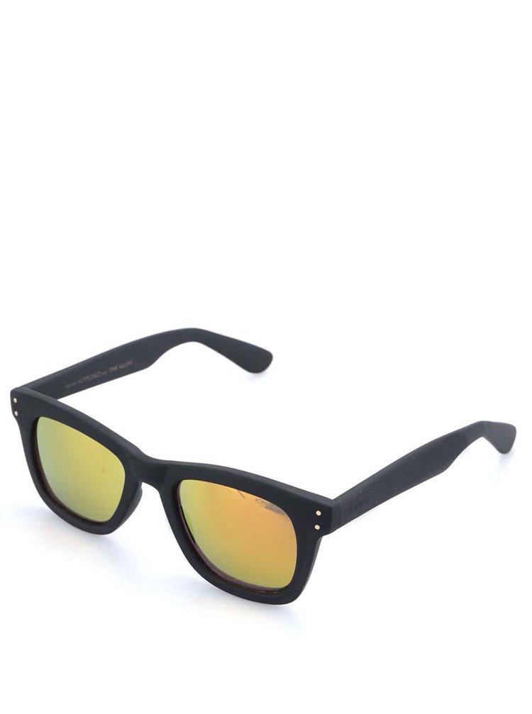 Černé unisex sluneční brýle se žlutými polarizačními skly Komono Allen