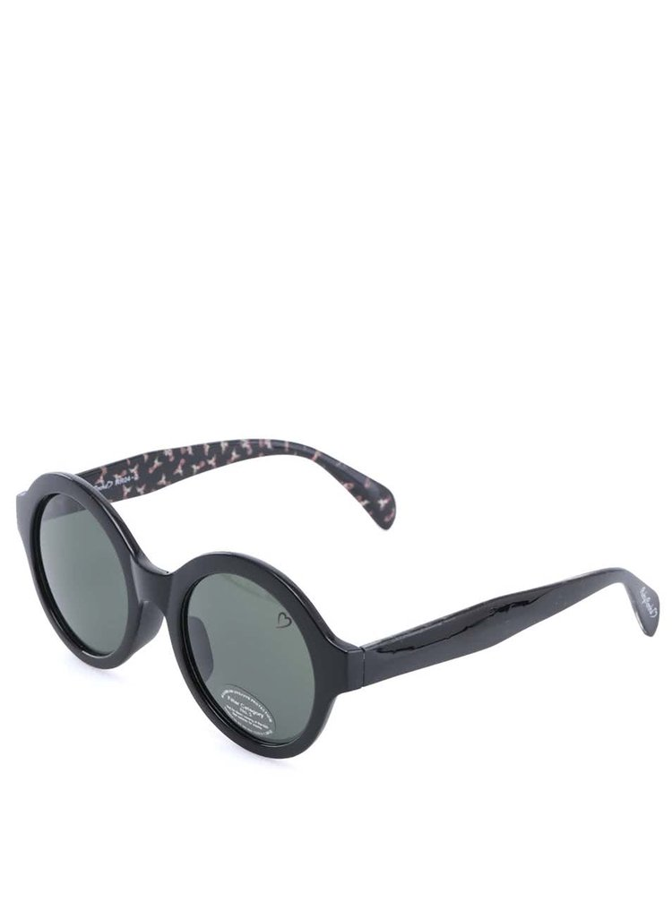 Ochelari de soare negri rotunzi cu model pe brațe Ruby Rocks