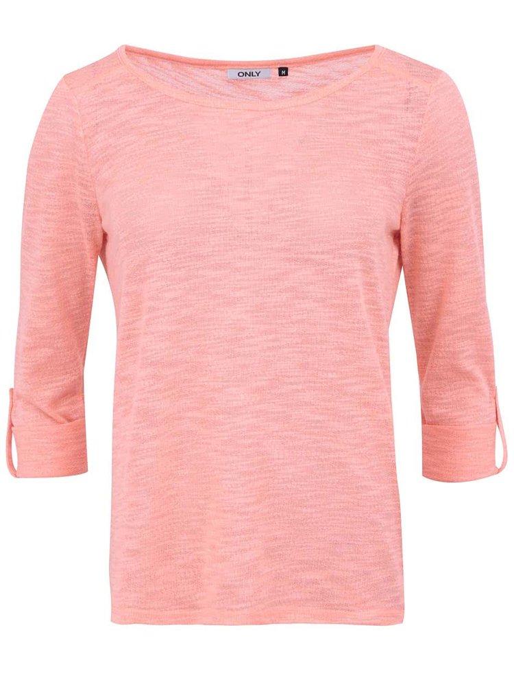 Korálové  tričko s 3/4 rukávem ONLY Jess