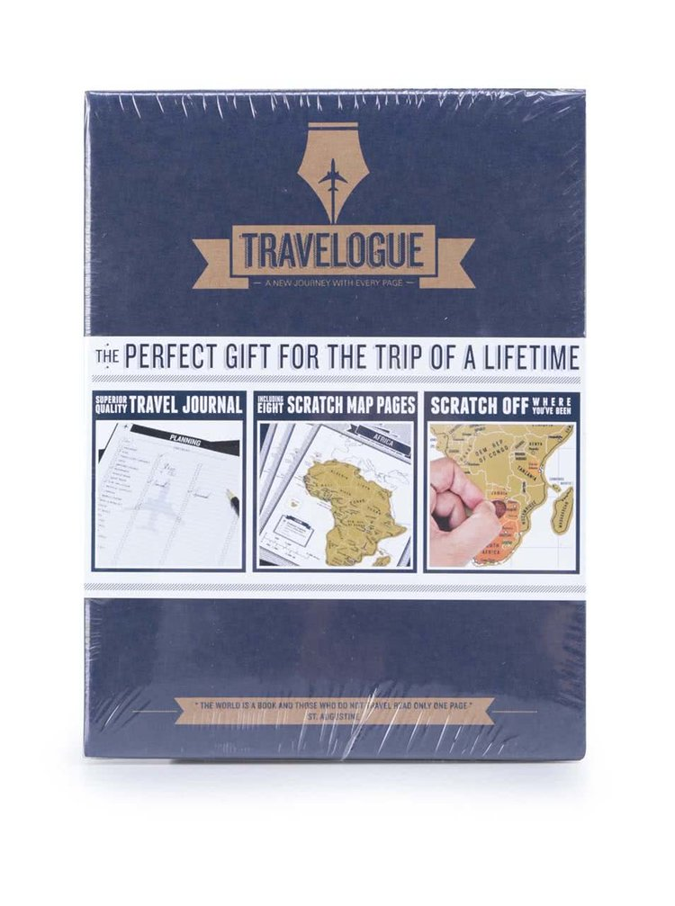 Jurnal de calatorie cu harta scratch Luckies Travelogue - albastru