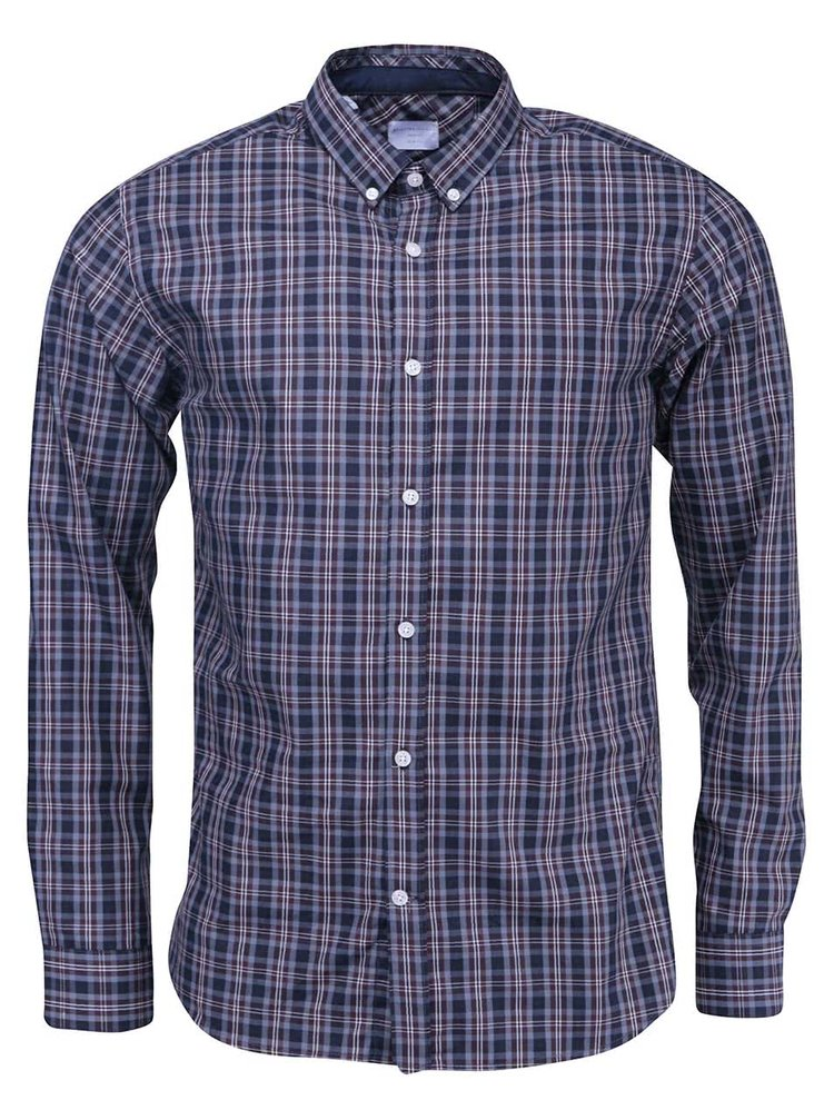 Modrá kostkovaná slim fit košile Selected Jax Tap