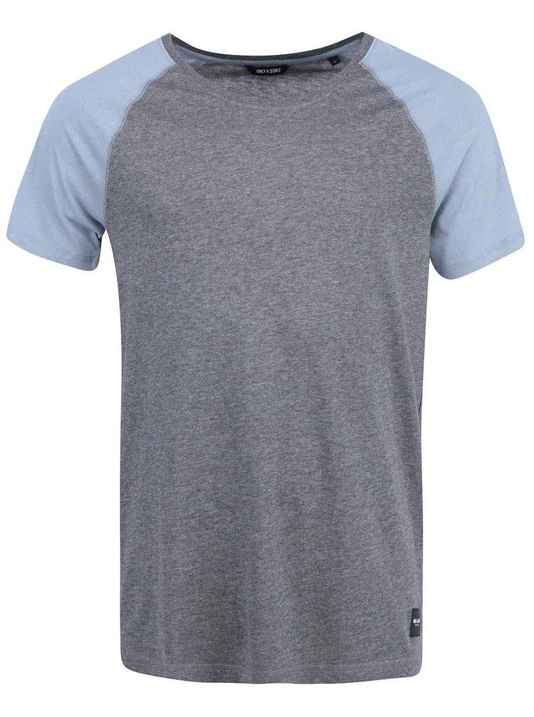 Modro-šivé tričko ONLY & SONS Trisdan