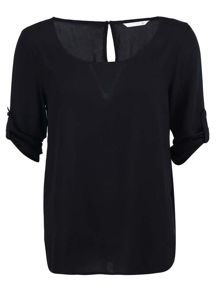 Černé volnější tričko s 3/4 rukávy ONLY Geggo