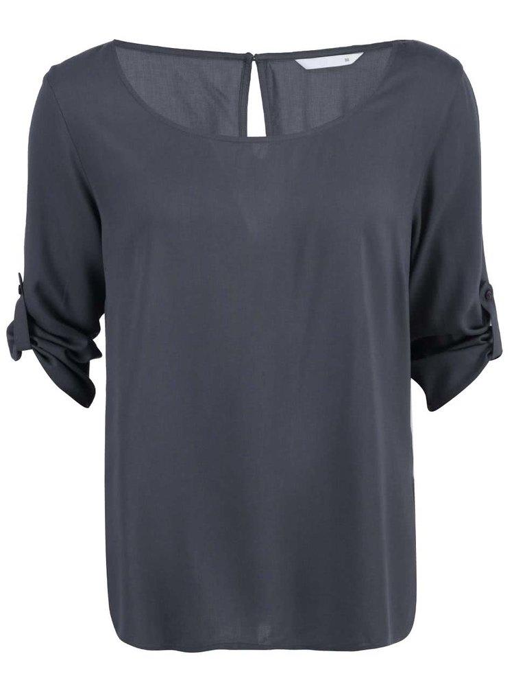 Šedé volnější tričko s 3/4 rukávem ONLY Geggo