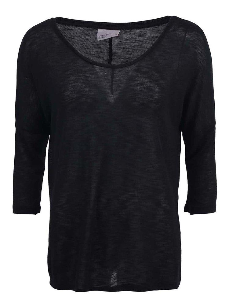 Čierne tričko s 3/4 rukávom VERO MODA Anna