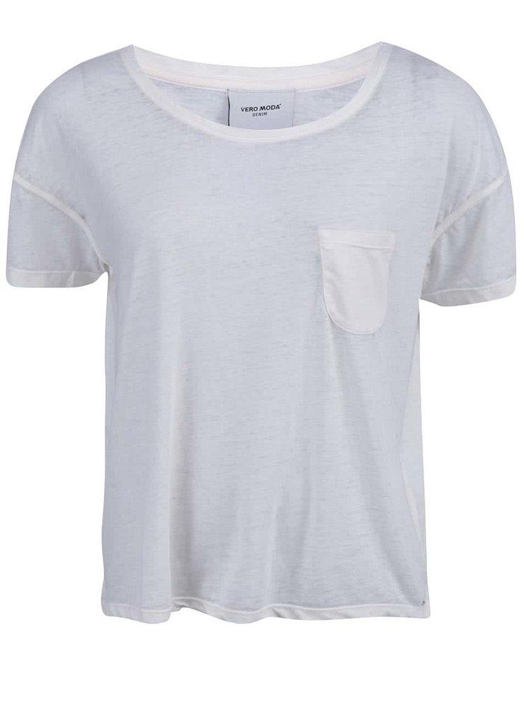Krémové tričko s kapsičkou VERO MODA Sofia