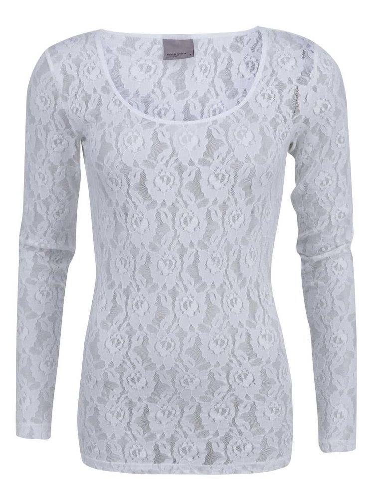 Bluză din dantelă albă cu mânecă lungă, model Lilly de la VERO MODA