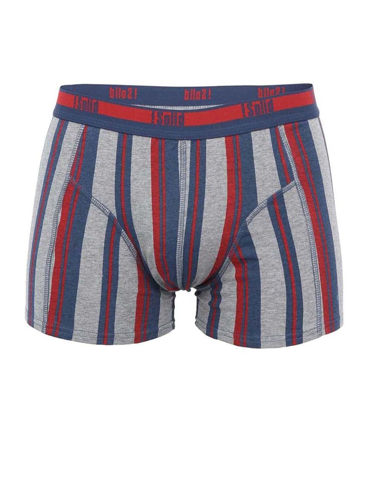 Sivo-červeno-modré boxerky so zvislými pruhmi !Solid Jie