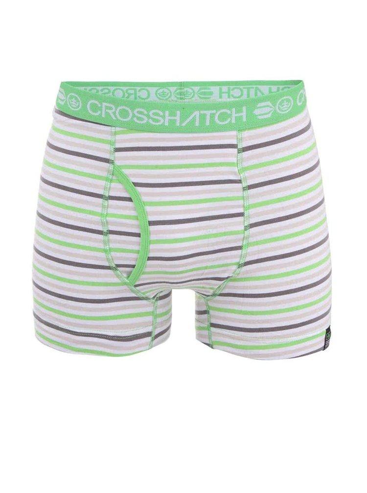Zeleno-sivé pruhované boxerky Crosshatch Plasma