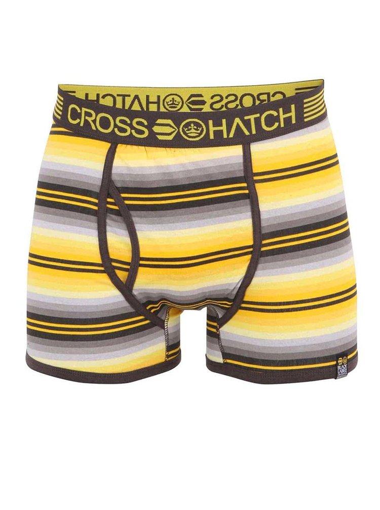 Šedo-žluté bavlněné pruhované boxerky Crosshatch Logic