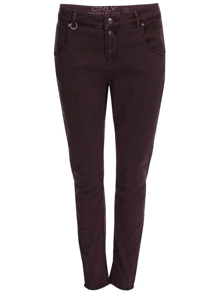 Pantaloni ONLY Lise cu talie înaltă - burgund