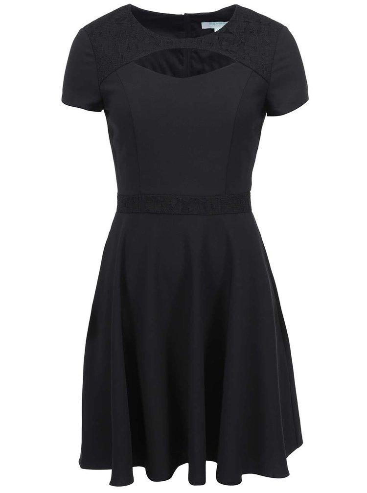 Čierne šaty s prestrihom Fever London Gabrielle