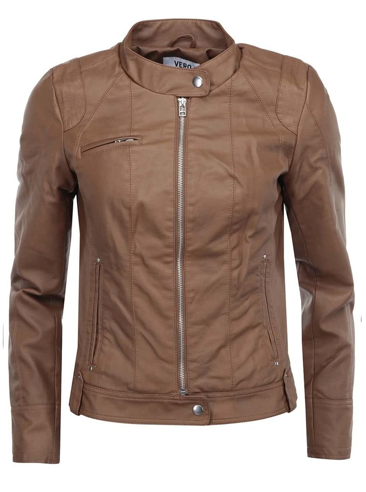 Jachetă maro din piele artificială VERO MODA Dawn