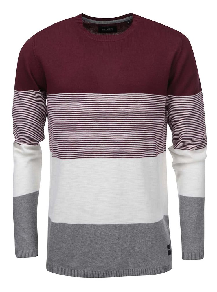 Vínový pruhovaný sveter ONLY & SONS Gabai