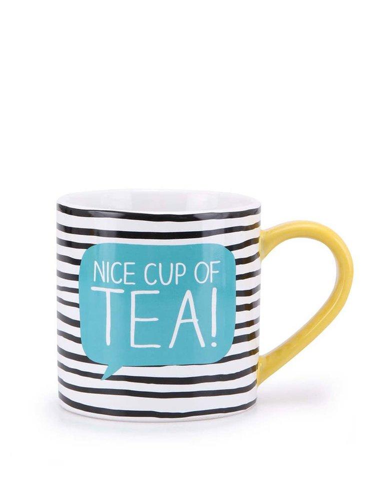 Čierno-biely prúžkovaný hrnček Happy Jackson Nice Cup of Tea