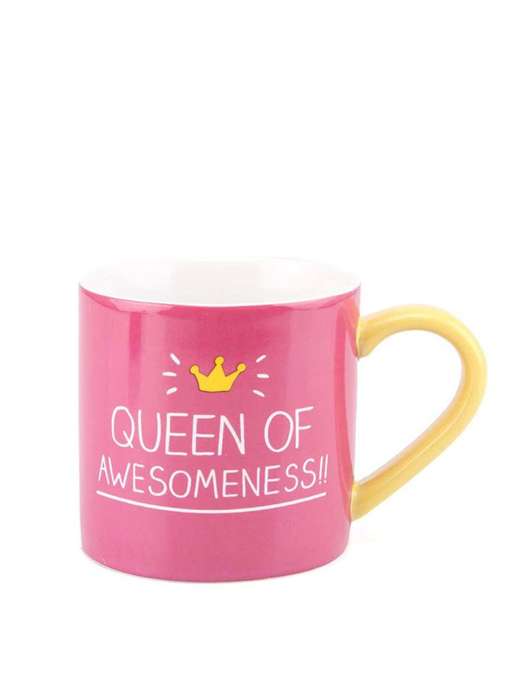 Růžový hrníček Happy Jackson Queen of Awesomeness