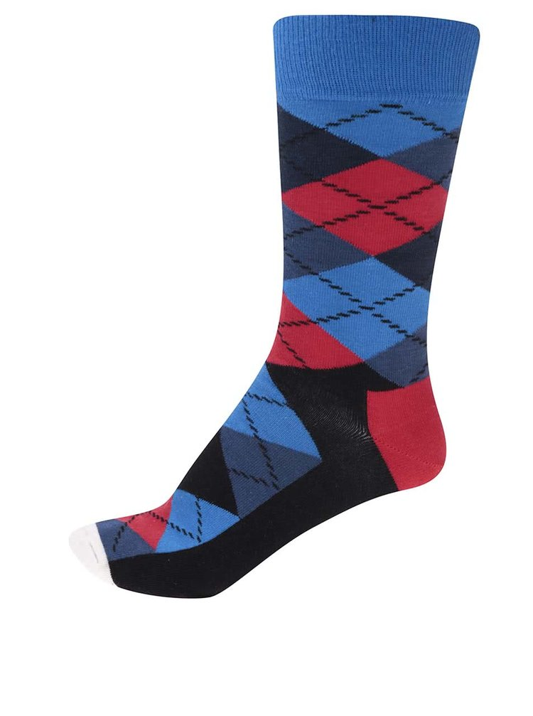 Červeno-modré pánské kárované ponožky Happy Socks Argyle