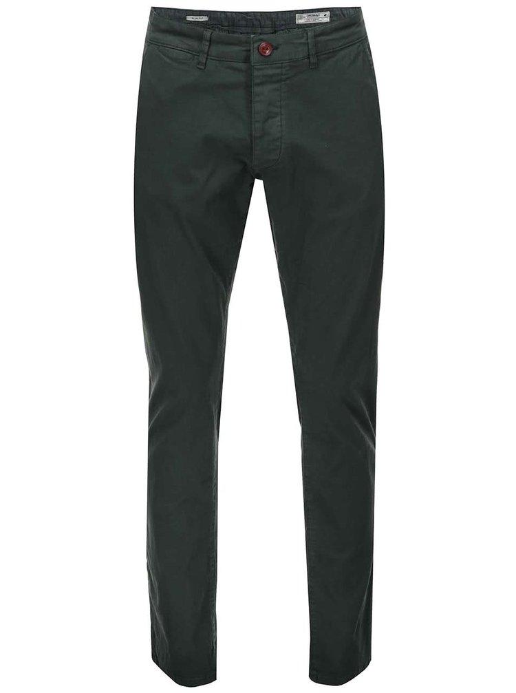 Tmavě zelené chino kalhoty Jack & Jones Bolton
