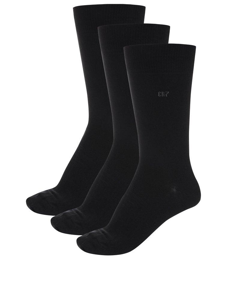 Set de trei perechi de șosete negre CR7