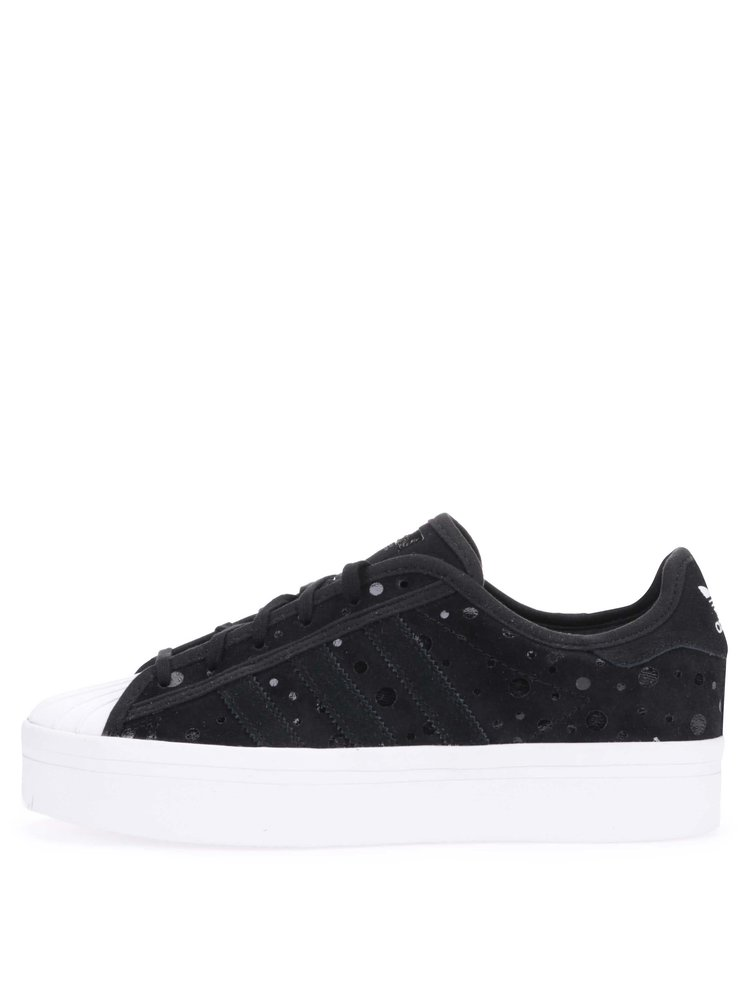 ff0b3518f ... Černé dámské kožené tenisky na platformě adidas Originals Superstar