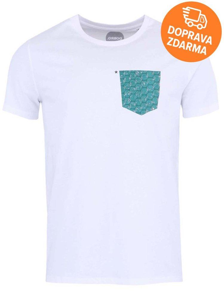 """""""Dobré"""" biele pánske tričko s potlačeným vreckom pre Jeden svět"""